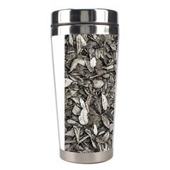 Black And White Leaves Pattern Stainless Steel Travel Tumblers by dflcprints