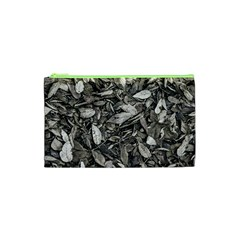 Black And White Leaves Pattern Cosmetic Bag (xs) by dflcprints