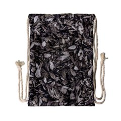 Black And White Leaves Pattern Drawstring Bag (small) by dflcprints