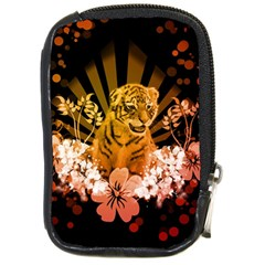 Cute Little Tiger With Flowers Compact Camera Cases by FantasyWorld7