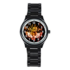 Cute Little Tiger With Flowers Stainless Steel Round Watch by FantasyWorld7