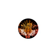Cute Little Tiger With Flowers 1  Mini Magnets by FantasyWorld7