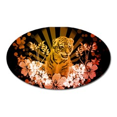 Cute Little Tiger With Flowers Oval Magnet by FantasyWorld7