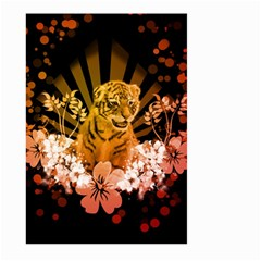 Cute Little Tiger With Flowers Large Garden Flag (two Sides) by FantasyWorld7