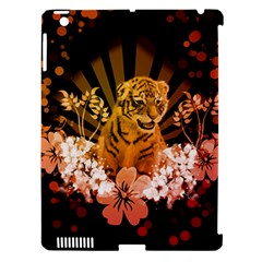 Cute Little Tiger With Flowers Apple Ipad 3/4 Hardshell Case (compatible With Smart Cover) by FantasyWorld7