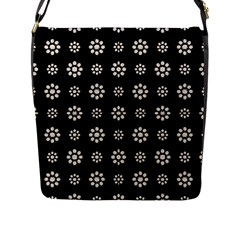 Dark Stylized Floral Pattern Flap Messenger Bag (l)  by dflcprints