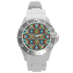 Pattern 16 Round Plastic Sport Watch (l) by ArtworkByPatrick