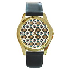 Pattern 17 Round Gold Metal Watch