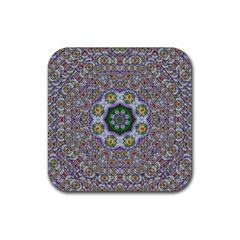 Summer Bloom In Floral Spring Time Rubber Square Coaster (4 Pack)  by pepitasart