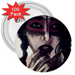 Femininely Badass 3  Buttons (100 Pack)  by sirenstore