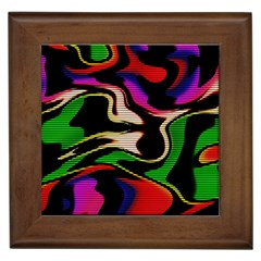 Hot Abstraction With Lines 1 Framed Tiles by MoreColorsinLife