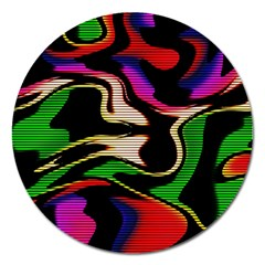 Hot Abstraction With Lines 1 Magnet 5  (round) by MoreColorsinLife