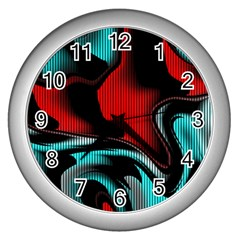 Hot Abstraction With Lines 3 Wall Clocks (silver)  by MoreColorsinLife