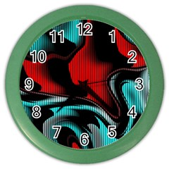 Hot Abstraction With Lines 3 Color Wall Clocks by MoreColorsinLife
