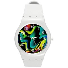 Hot Abstraction With Lines 4 Round Plastic Sport Watch (m) by MoreColorsinLife