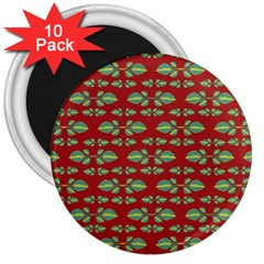 Tropical Stylized Floral Pattern 3  Magnets (10 Pack)  by dflcprints