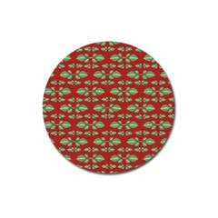 Tropical Stylized Floral Pattern Magnet 3  (round) by dflcprints