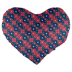 Squares And Circles Motif Geometric Pattern Large 19  Premium Heart Shape Cushions