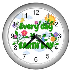 Earth Day Wall Clocks (silver)  by Valentinaart