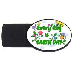 Earth Day Usb Flash Drive Oval (2 Gb) by Valentinaart