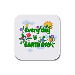 Earth Day Rubber Square Coaster (4 Pack)  by Valentinaart
