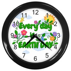 Earth Day Wall Clocks (black) by Valentinaart