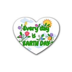 Earth Day Rubber Coaster (heart)  by Valentinaart