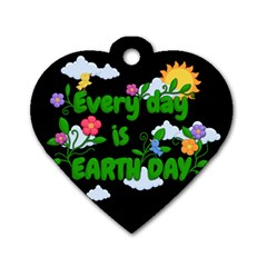 Earth Day Dog Tag Heart (two Sides) by Valentinaart