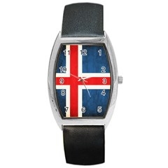 Iceland Flag Barrel Style Metal Watch by Valentinaart