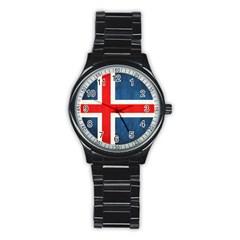 Iceland Flag Stainless Steel Round Watch by Valentinaart