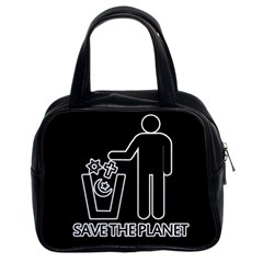 Save The Planet   Religions  Classic Handbags (2 Sides) by Valentinaart