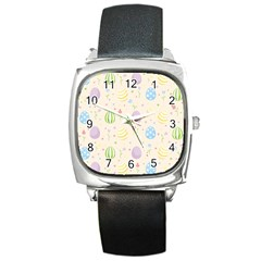 Easter Pattern Square Metal Watch by Valentinaart