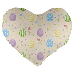 Easter Pattern Large 19  Premium Flano Heart Shape Cushions by Valentinaart