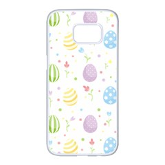 Easter Pattern Samsung Galaxy S7 Edge White Seamless Case by Valentinaart