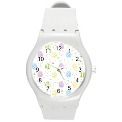 Easter Pattern Round Plastic Sport Watch (m) by Valentinaart