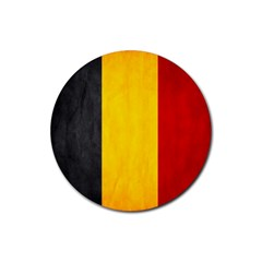 Belgium Flag Rubber Round Coaster (4 Pack)  by Valentinaart