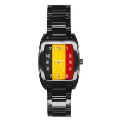 Belgium Flag Stainless Steel Barrel Watch by Valentinaart