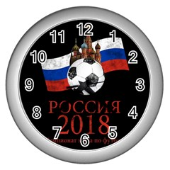 Russia Football World Cup Wall Clocks (silver)  by Valentinaart