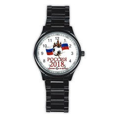 Russia Football World Cup Stainless Steel Round Watch by Valentinaart