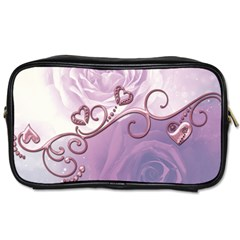 Wonderful Soft Violet Roses With Hearts Toiletries Bags 2 Side by FantasyWorld7