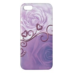 Wonderful Soft Violet Roses With Hearts Apple Iphone 5 Premium Hardshell Case by FantasyWorld7