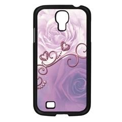 Wonderful Soft Violet Roses With Hearts Samsung Galaxy S4 I9500/ I9505 Case (black) by FantasyWorld7