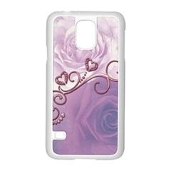 Wonderful Soft Violet Roses With Hearts Samsung Galaxy S5 Case (white) by FantasyWorld7