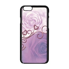 Wonderful Soft Violet Roses With Hearts Apple Iphone 6/6s Black Enamel Case