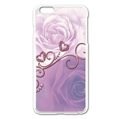 Wonderful Soft Violet Roses With Hearts Apple Iphone 6 Plus/6s Plus Enamel White Case by FantasyWorld7