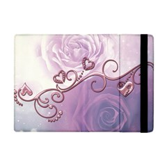 Wonderful Soft Violet Roses With Hearts Apple Ipad Mini Flip Case by FantasyWorld7