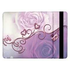 Wonderful Soft Violet Roses With Hearts Samsung Galaxy Tab Pro 12 2  Flip Case