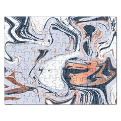 Liquid Gold And Navy Marble Rectangular Jigsaw Puzzl by goljakoff