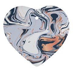 Liquid Gold And Navy Marble Heart Ornament (two Sides) by goljakoff