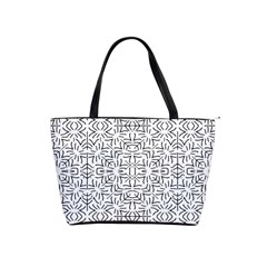 Black And White Ethnic Geometric Pattern Shoulder Handbags by dflcprints
